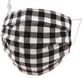 Adults- B/W Buffalo Plaid Print Face Covering