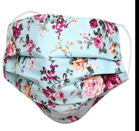 Adults- Aqua Floral Face Covering