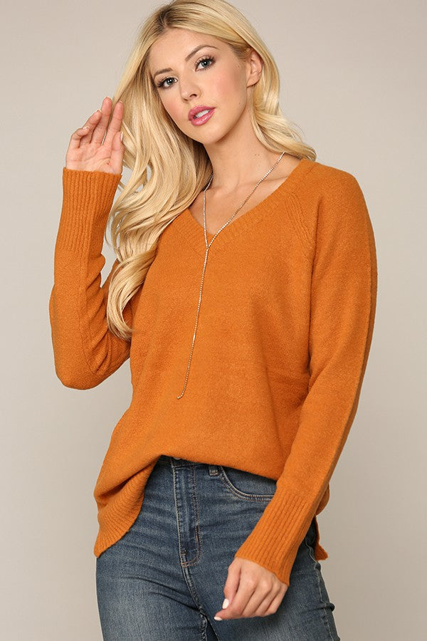 Cozy Pumpkin V-Neck Sweater
