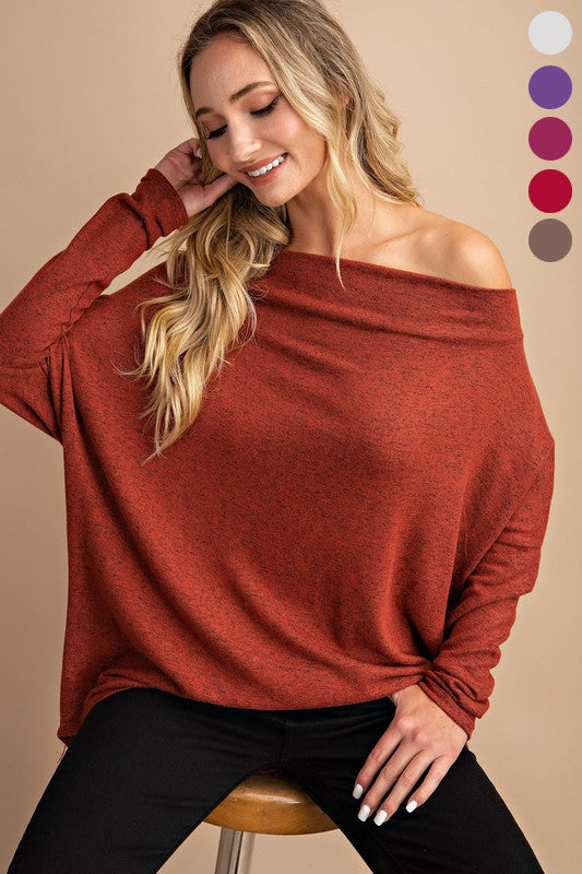 Rust Off Shoulder Tunic Top