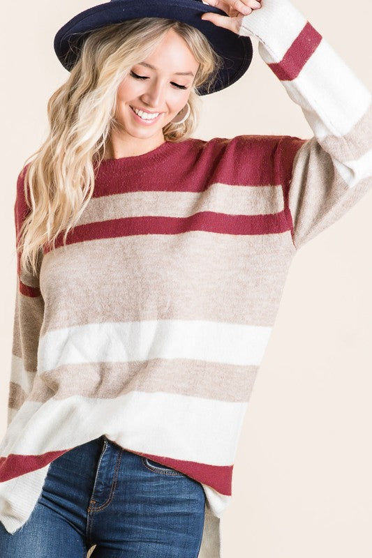Burgundy & Tan Stripe Sweater