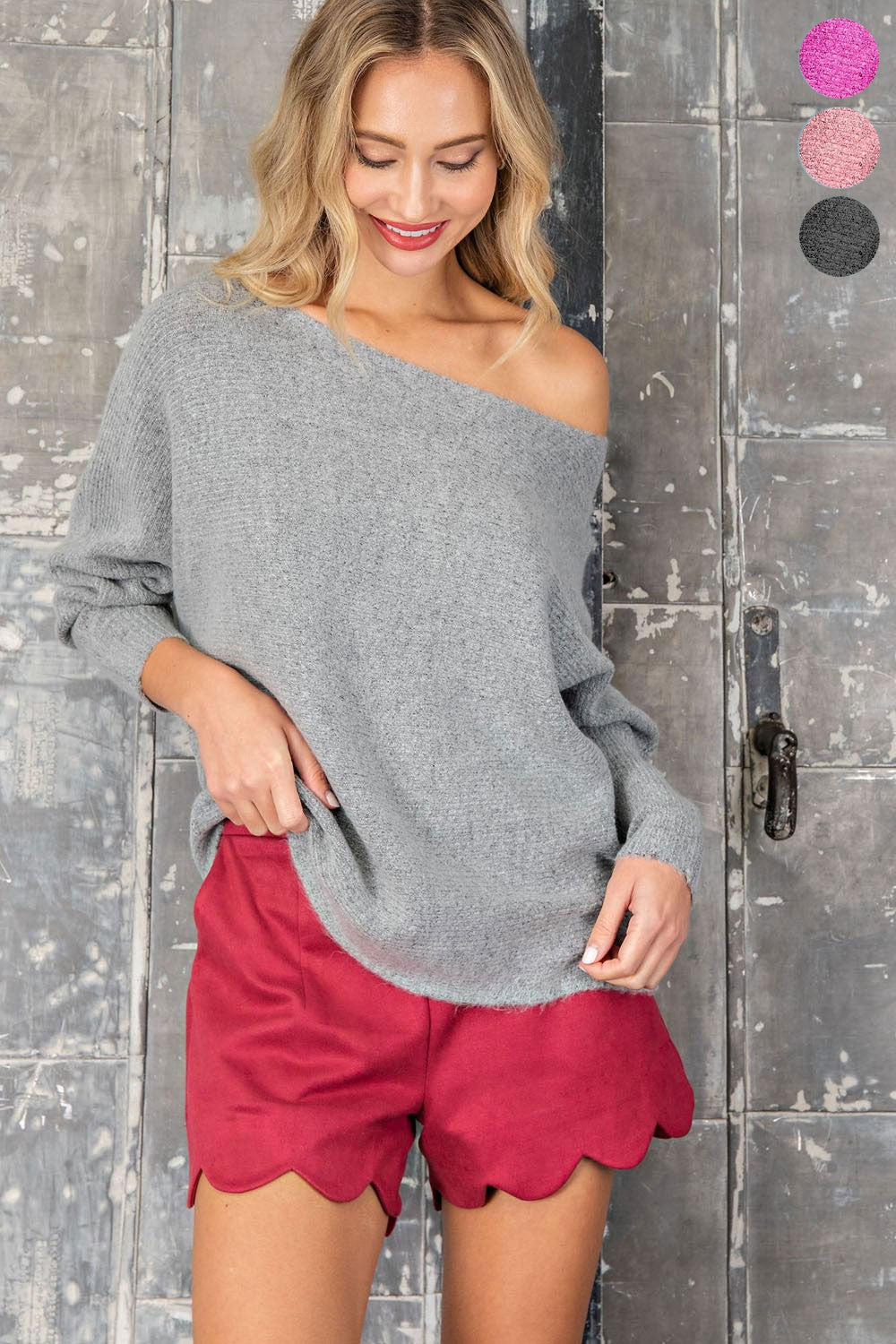 H. Grey Ribbed Off Shoulder Sweater
