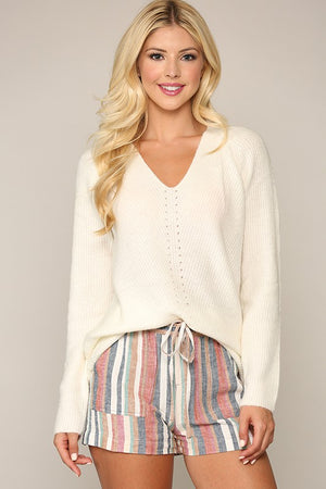 Cream Long Sleeve  V-Neck Sweater