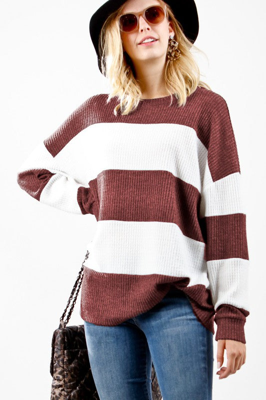 Wine/White Stripe Waffle Knit Top