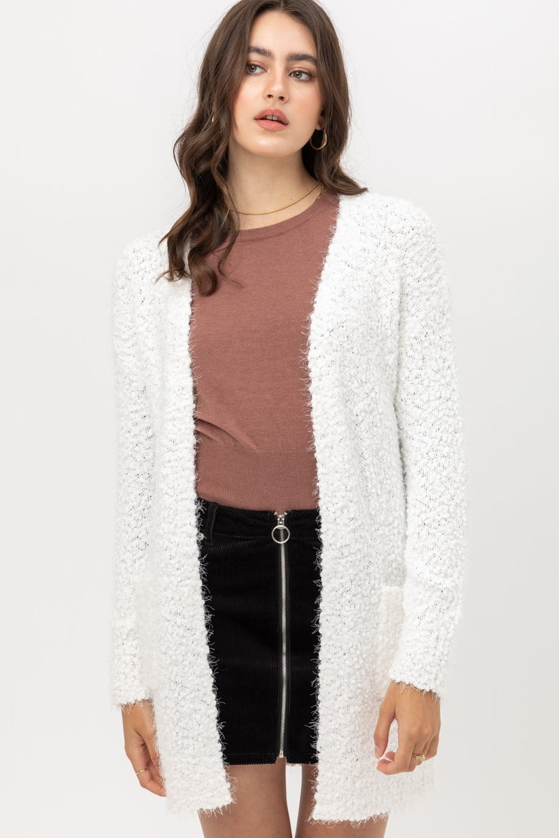 White Fuzzy Soft Cardigan