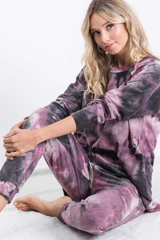 Purple/Black Tie Dye Super Soft Joggers