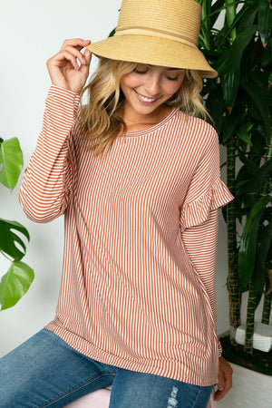*BFBD* Copper Vertical Pin Stripe Ruffle Sleeve Top