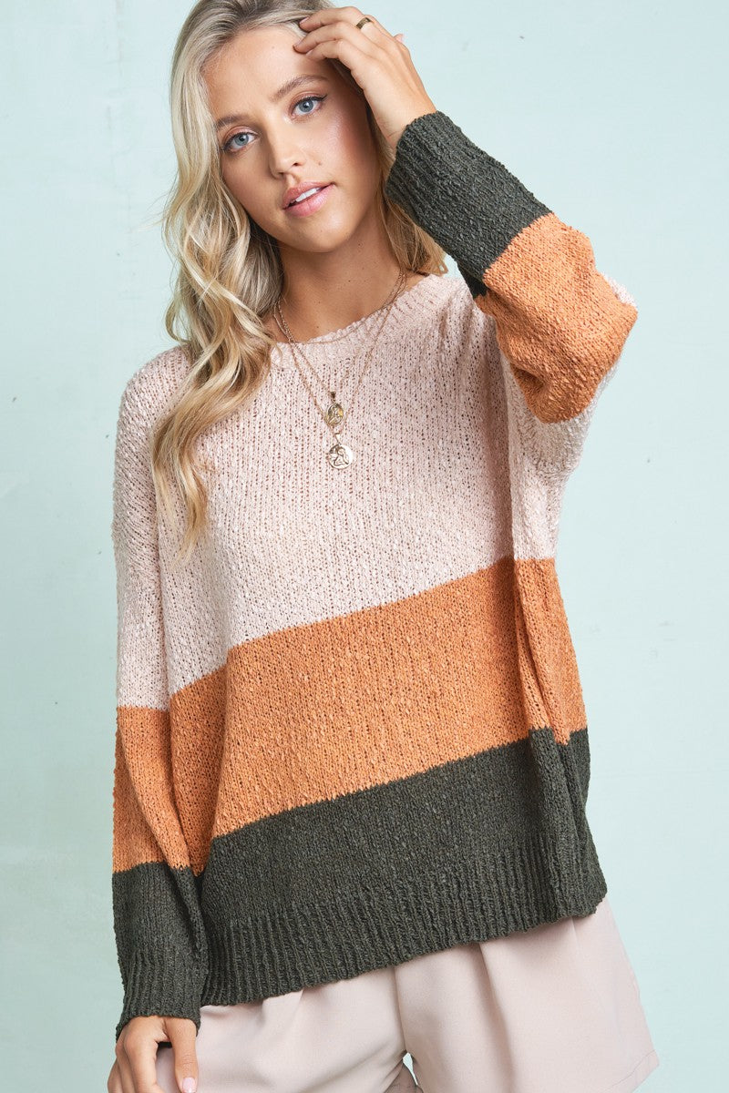 Fall Color Block Knitted Sweater