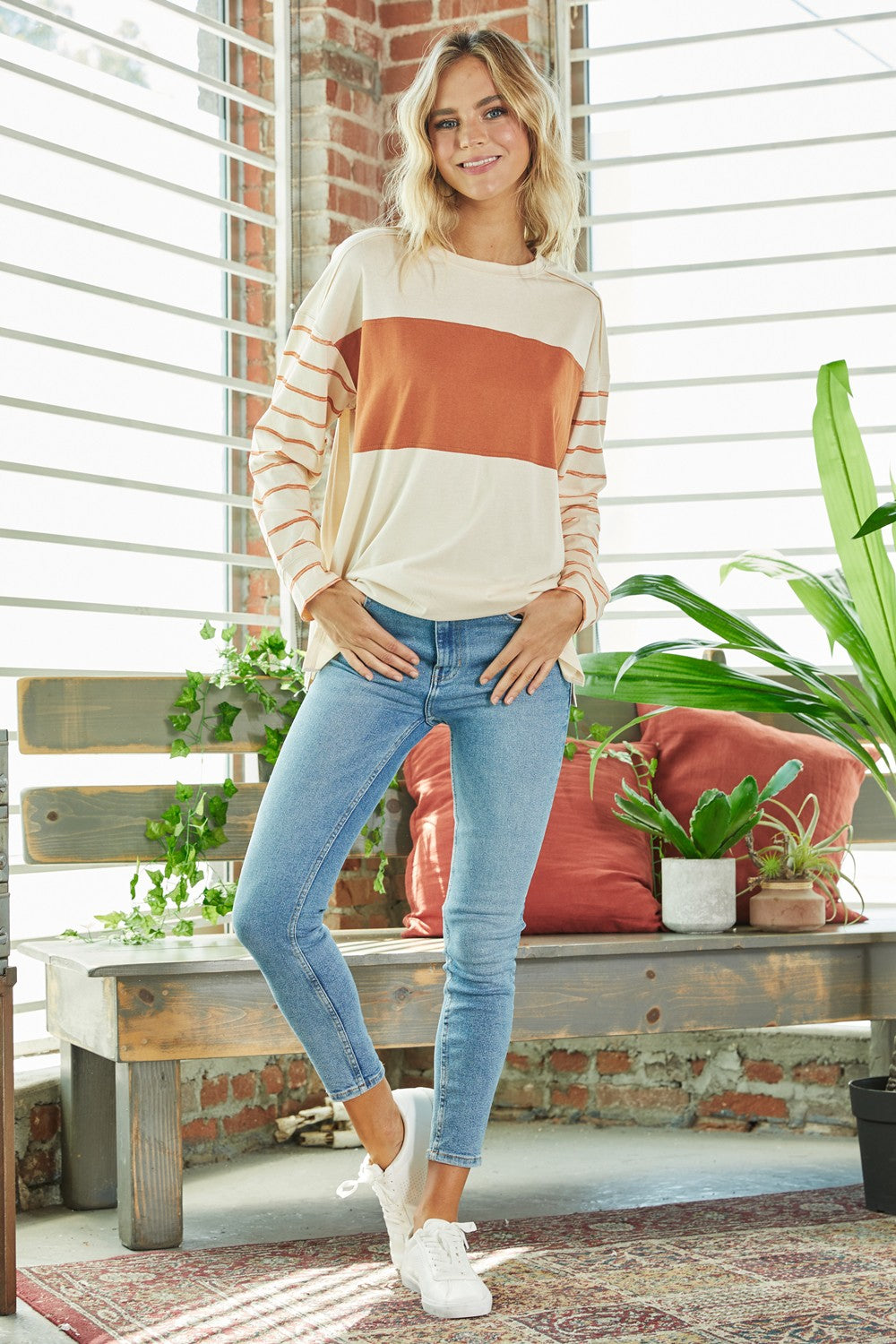 Cream/ Rust Stripe Long Sleeve Top