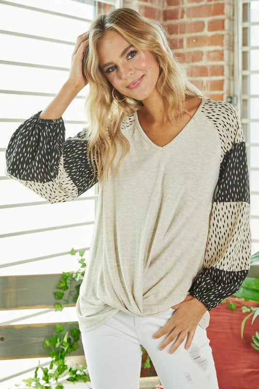 Oatmeal Top with Color Block Sleeves