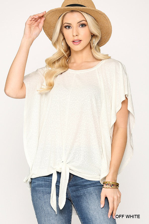 Off White Leopard Ruffle Sleeve Top