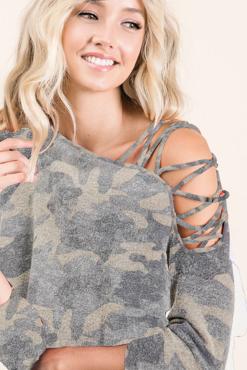 Camo Strappy Shoulder Top