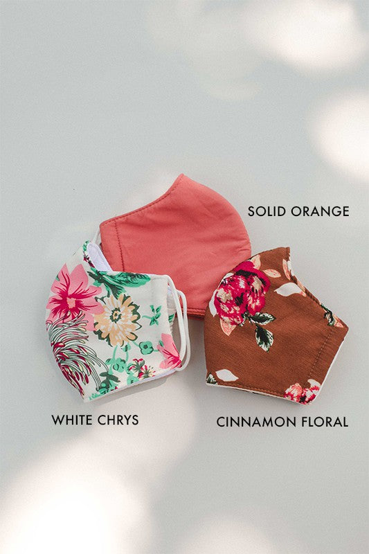 Cinnamon Floral Print Face Covering- Not Medical for Use