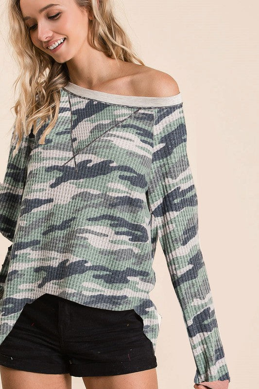 Camo Thermal Long Sleeve Top