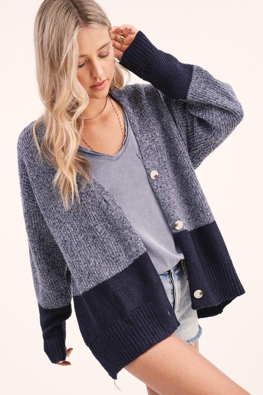 Monica Color Block Cardigan - Navy