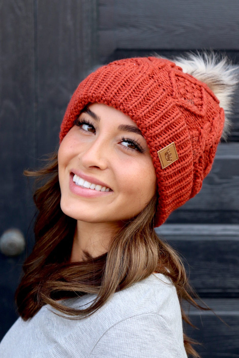 Rust Cable Knit Pom Pom Beanie