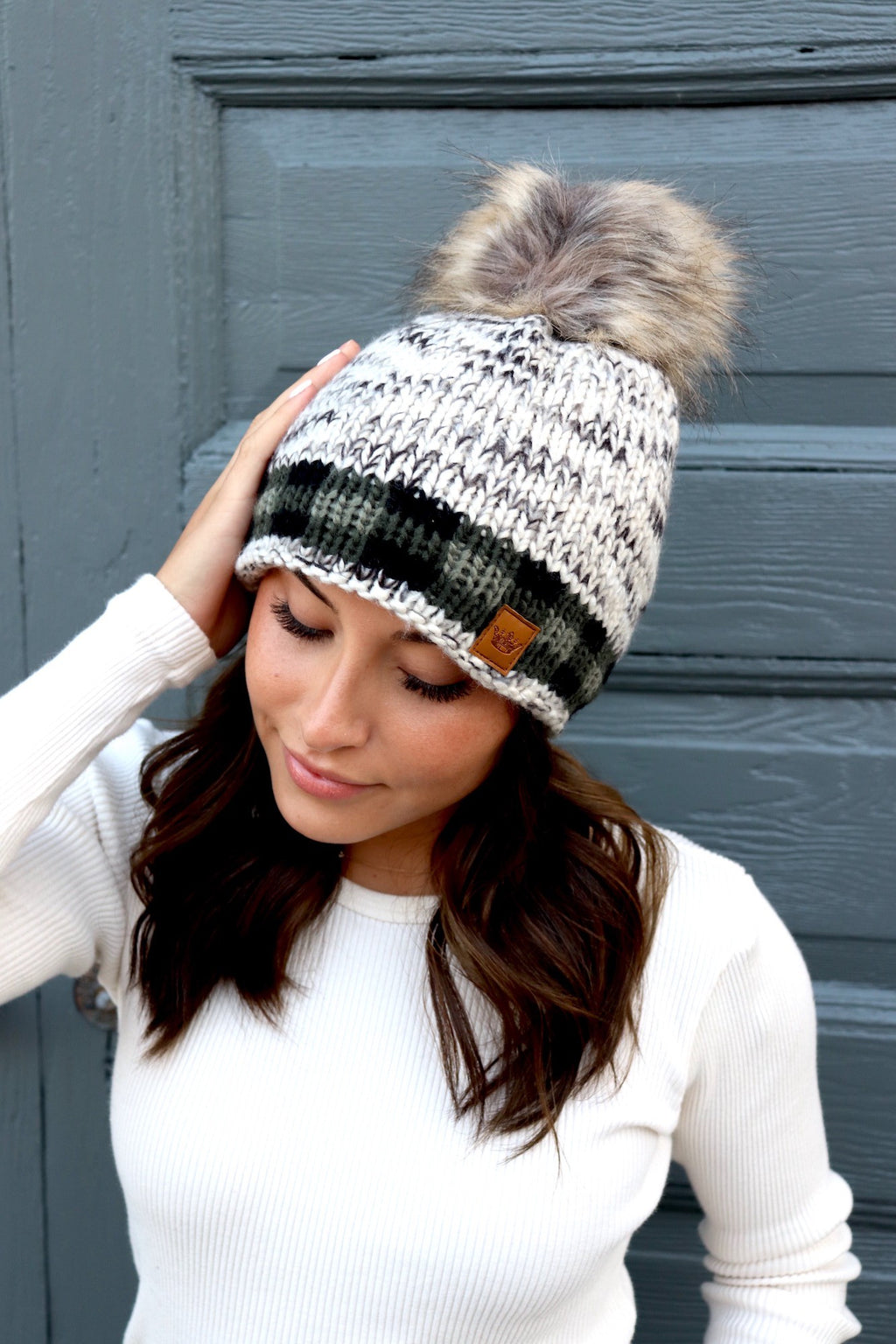 Olive Plaid Cable Knit Lined Pom Pom Beanie