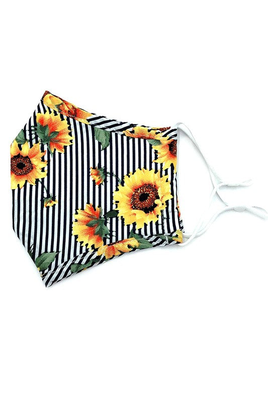 Adults- Sun Flower Print Face Covering