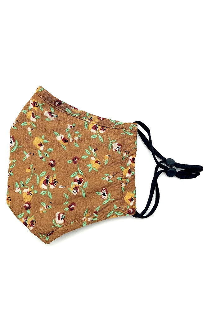Adults- Camel Floral Print Face Covering