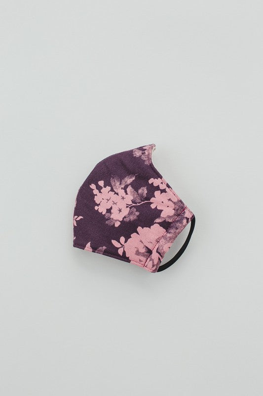 Purple Floral Print Face Covering- Not Medical for Use