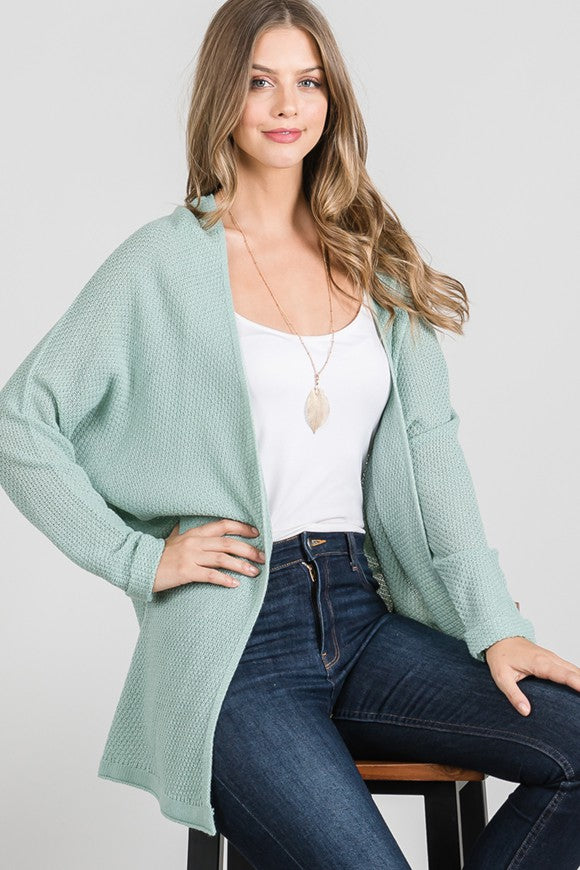 Favorite Knitted Cardigan- Aqua