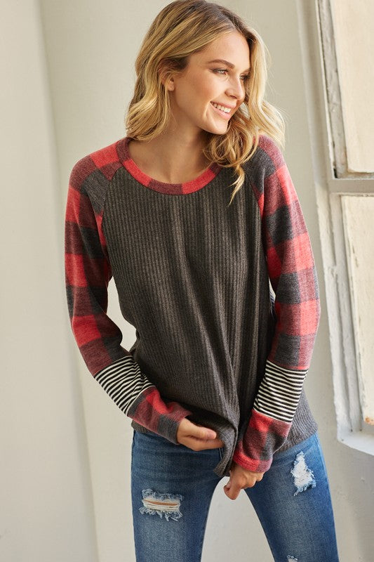 Red Buffalo Plaid Sleeved Thermal Top