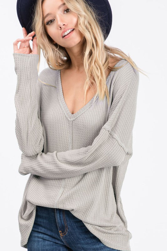 Taupe Waffle Knit V-Neck Top