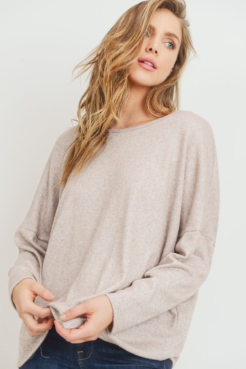 Sparkly Taupe Back Keyhole Top