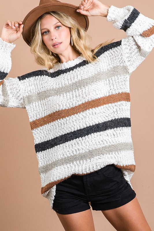 Neutral Stripe Popcorn Sweater