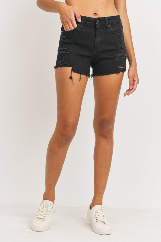 Just USA Mid Rise Distressed Shorts- Black