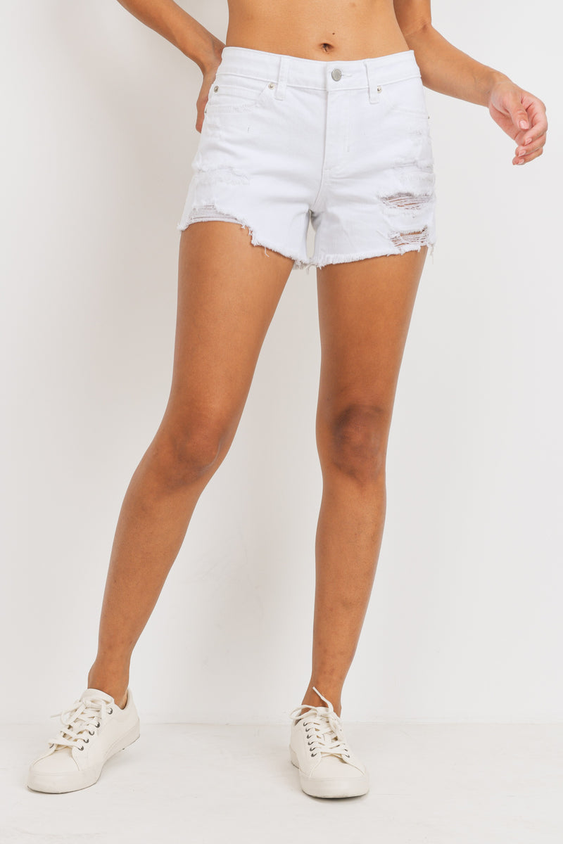 Just USA Mid Rise Distressed Shorts- White
