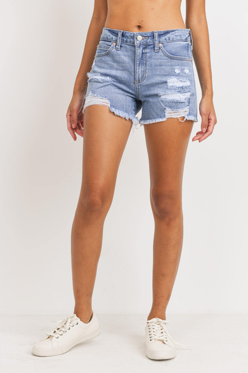 Just USA Mid Rise Distressed Shorts- Light Wash