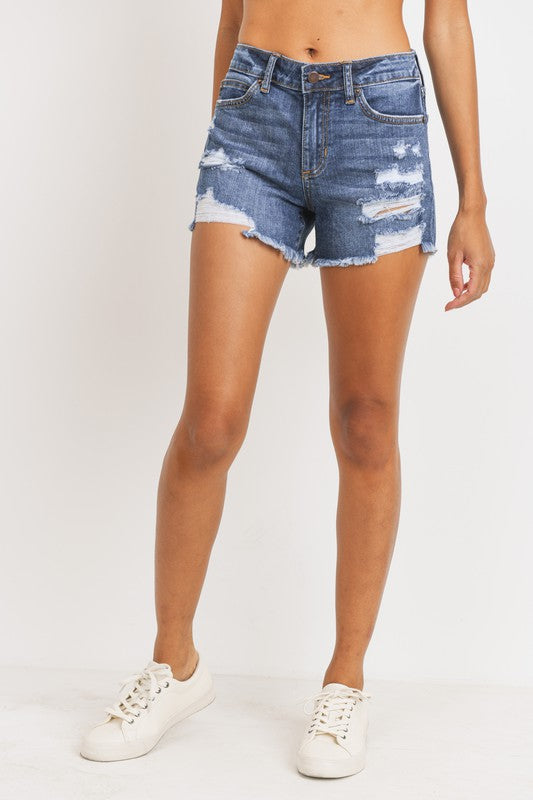 Just USA Mid Rise Distressed Shorts- Med Wash
