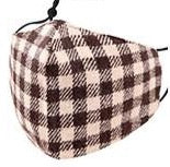 Adults- Brown Plaid Print Face Covering