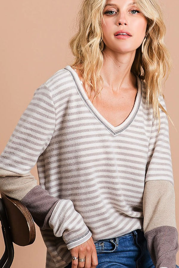Brushed Stripe V-Neck with Contrast Sleeves
