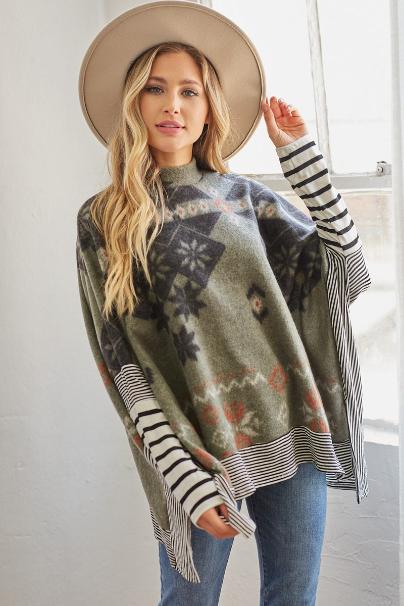 Olive Aztec Sweater Cape Tunic