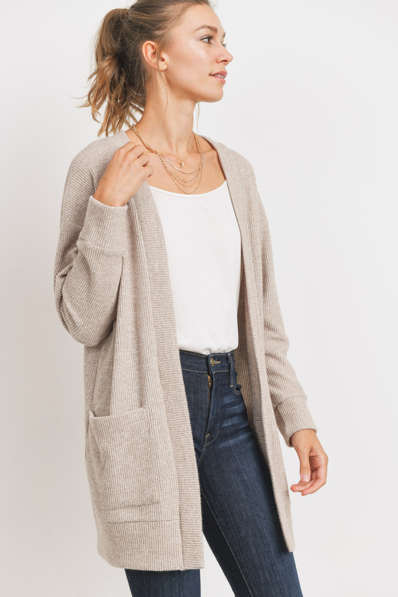 Taupe Brushed Mini Thermal Front Pockets Cardigan