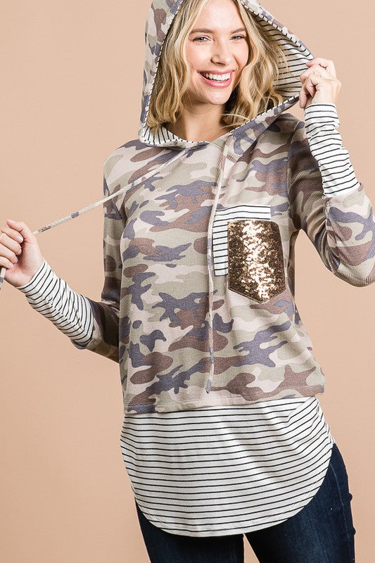 Camo & Stripe Print Hoodie with Sequin Pocket