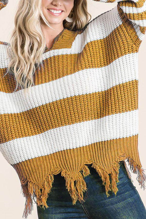 Mustard Stripe Distressed Sweater