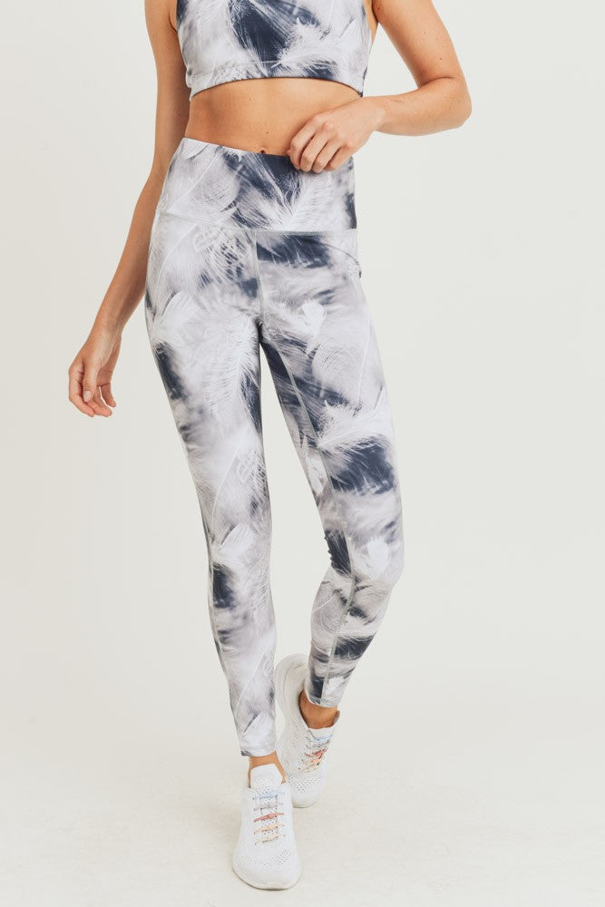 White Feather Print Athletic Leggings