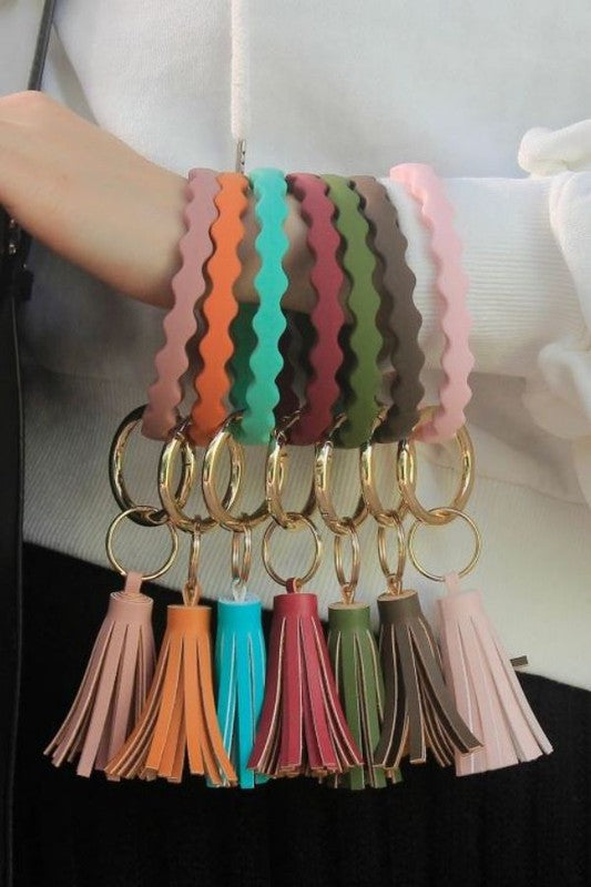 Wave Shape Silicone Key Ring Bracelet with Tassel- Multiple Colors