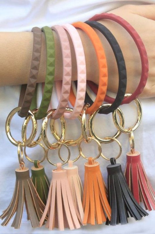 Diamond Shape Silicone Key Ring Bracelet with Tassel- Multiple Colors