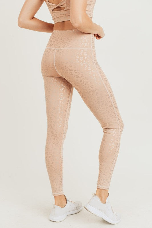 Peach Leopard Foil Print Athletic Leggings