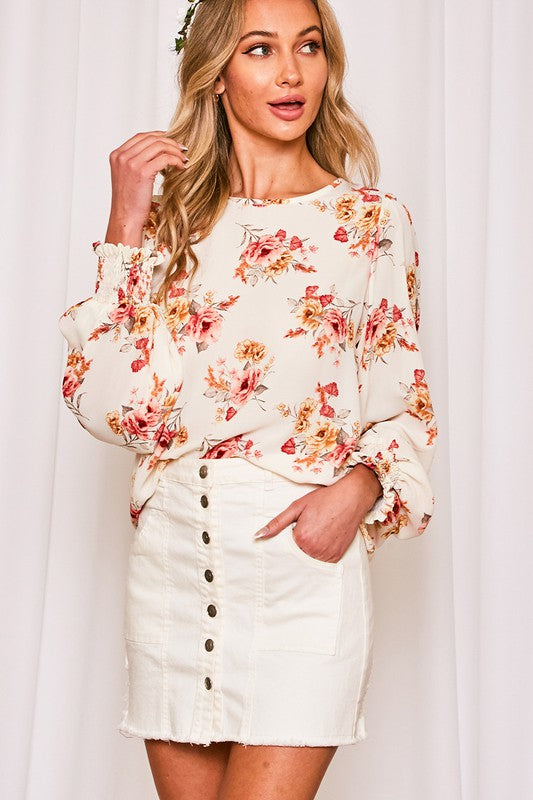 Floral Long Sleeve Smocked Cuff Top