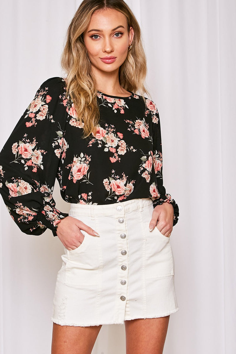 Black Floral Long Sleeve Smocked Cuff Top