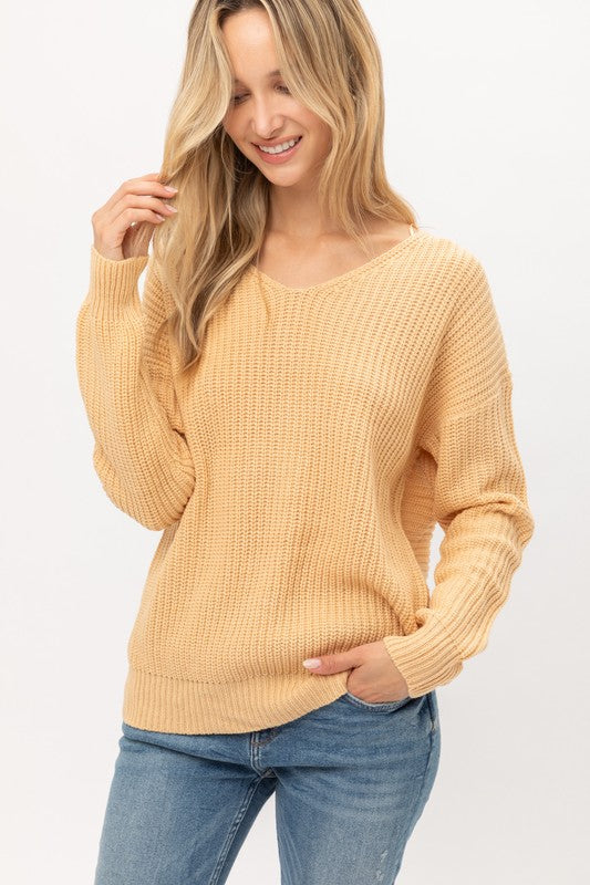 Butter Twisted Back Lightweight Sweater