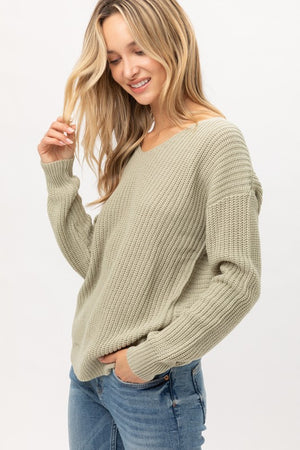 Moss Twisted Back Lightweight Sweater