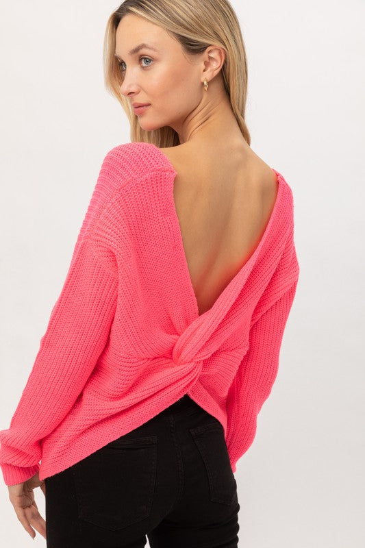Neon Pink Twisted Back Lightweight Sweater