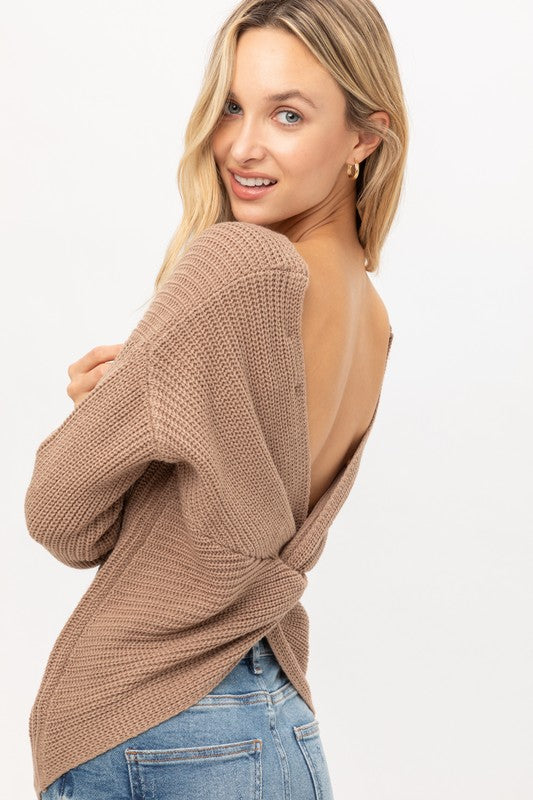 Taupe Twisted Back Lightweight Sweater