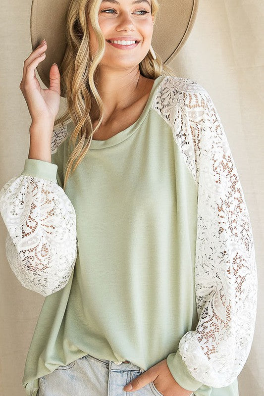 Sage Top with Lace Puff Sleeves